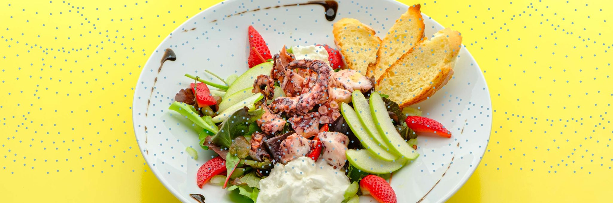 Salads and steamed seafood